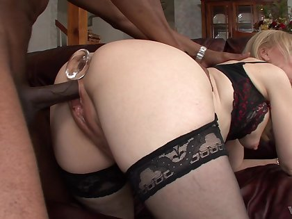 Seductive blonde mature leaves black neighbor to ruin her holes