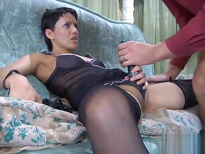 Mature Viola Fucks guy with strap-on
