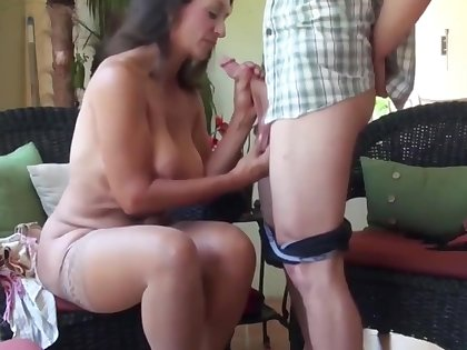 Lucky guy having fun with sexy mature busty milf