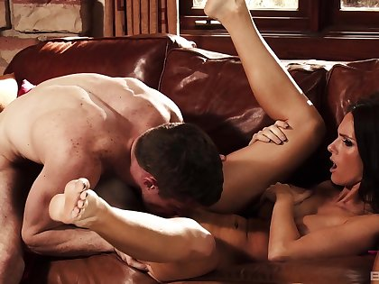 Nasty brunette drives man silly with how tight she is