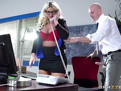 Boss lady Julie Cash fucked in burnish apply office apart from her male assistant