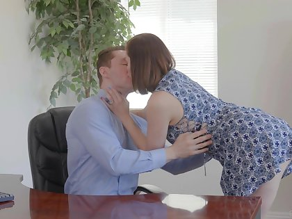 Slutty wife Sovereign Syre is cheating on her old husband with young clerk