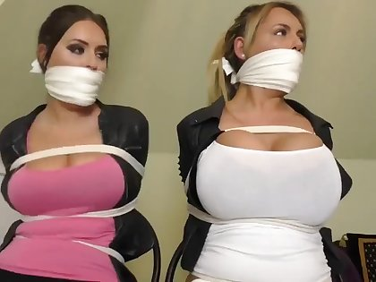 Busties trapped in house BDSM bondage tied up