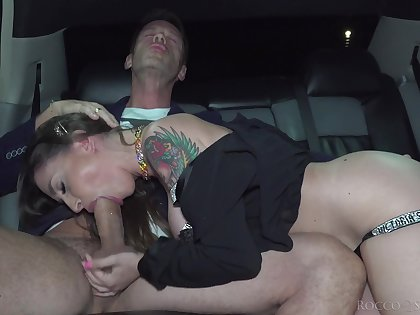 Dude bangs a hot MILF in the backseat of his own up to limousine
