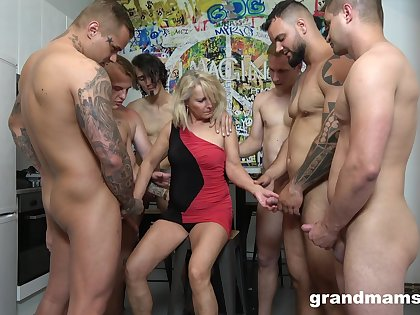 Retired whore Marta goes wild with several hot and young dudes