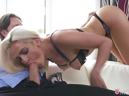 Energized blonde MILF, nasty blowjob and fat hard sex